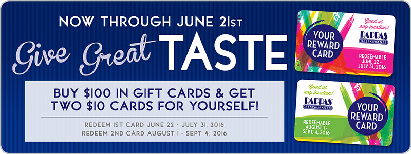 Get your Pappas Gift Card Rewards now!